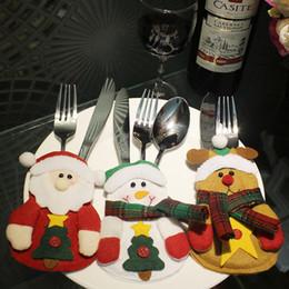 2019 держатели вилки ножей для рождества Кухня столовые приборы костюм столовые приборы держатели карманы ножи вилки сумка Снеговик формы рождественские украшения партии рождественские сумки для ножа и вилки дешево держатели вилки ножей для рождества