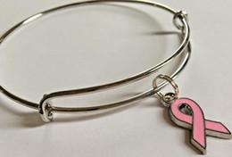 Accessoires de cancer du sein en Ligne-Breast Cancer Sensibilisation Ruban Extensible Fil Bracelets Vintage Argent Manchette Bracelets Pour Femmes Bijoux Mode Couple Cadeau Accessoires