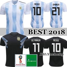 Wholesale messi away - 2018 Argentina World Cup soccer Jersey Top Quality 18 19 MESSI home AGUERO DI MARIA thai quality Argentina away black football shirts
