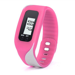 Wholesale digital watch blue lcd - 2017 New Fashion Classical Digital LCD Pedometer Run Step Walking Distance Calorie Counter Watch Bracelet Gift Dropshipping L522