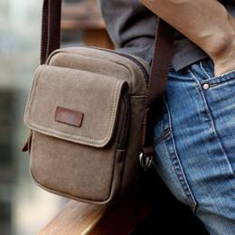 Wholesale Vintage Messenger Bags Men Canvas - Summer New Kroe Style Canvas Vintage Men Shoulder Crossbody Messenger Bags for Man Brown Black Small Bag Designer Handbags