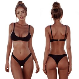 Wholesale Thong Swimsuit Red - New Solid Thong Bikini Sexy Swimwear Women Plus Size Swimsuit Halter Bikini Set Simple Large Bathing Suit RF0785