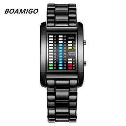 Цифровые ленты онлайн-BOAMIGO  Rectangle Creative LED Watch Sport Men's Watches Digital Steel Band Calendar Electronic Wrist Watches Men Clock