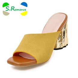 S. романтика плюс размер 34-43 женщин сандалии высокий каблук мода лето офис скольжения на Леди насосы Женская обувь желтый серый SS972 от