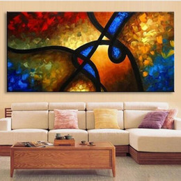 Wholesale large hand painted canvas art - Large Palette Knife Paintings on Canvas Hand-painted Abstract Graffiti Lines Oil Painting Modern Home Decor Wall Art Pictures