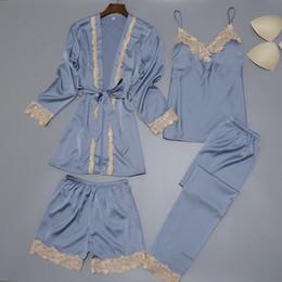 Conjunto de ropa de dormir de satén de seda para mujer New Robe + Slip top + Pant + Shorts 4 piezas de encaje ropa de dormir Conjunto de pijama de verano Elegant Inicio Ropa desde fabricantes