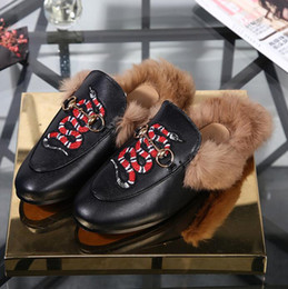 Wholesale horsebit loafers - 2018 Luxury Brand Horsebit Plush Wool Slippers Princetown Fashion Bee Tiger Casual Shoes Loafer Shoes Moccasins