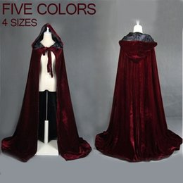 Rotes schwarzes kapuzenoberteil online-Weinrot schwarz samt kapuzenmantel hochzeitskap halloween wicca robe mantel lager yyo