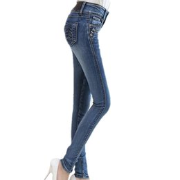 3117423797e New plus size Jeans Full Length Trousers elastic Skinny Jeans female pencil  pants woman jeans women Slim Fashion Denim Blue D1892501