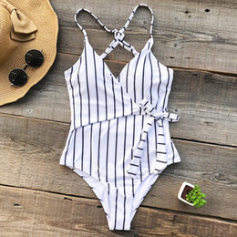 Wholesale stripes swimsuit ladies - Young Stripe One-piece Swimsuit Deep V neck Summer Sexy Backless Bikini Set Ladies Beach Bathing Suit Swimwear