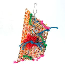 Wholesale bamboo bird - Supplies Toy Bird Toys Colorful Bamboo Weave Wooden Swing Parrot Toys Climbing and Biting Bird Cage Accessories