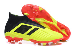 Wholesale Girls Youth Boots - Mens Women High Ankle Football Boots Youth Kids Predator 18+ FG Soccer Shoes Children Boy Girls Predator 18 Outdoor Soccer Cleats