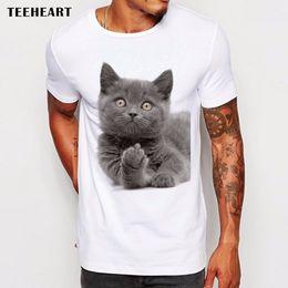 Wholesale British Boys - Wholesale-Men's 2017 Funny Middle Finger Design T Shirt Boy Cool Tops Hipster British Shorthair Cat Printed Summer T-shirt La772