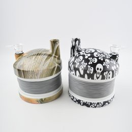 Wholesale Plastic Flexible Pipe - Plastic Stretch Caterpillar Bong Water Pipes Travel Stretch Smoking Pipe Skull Pattern Flexible Hookahs Shisha with Color Box 2 Colors