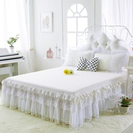 Wholesale white princess bedding - New 100 %Cotton Bed Skirts White Embroidey Lace Bedspread Bed Sheet For Wedding Twin Full Queen King Size Princess Bed Cover