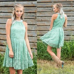 Spitzenkleid minze online-2019 Nude Mint Schlüsselloch-Ausschnitt A Line Full Lace Country Brautjungfernkleider knielangen Crystal Homecoming Kleider Beach Günstige Party Dress