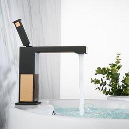 Wholesale Square Sinks - Black and Rose gold Square Bathroom sink Faucet Solid Brass Basin Faucet Cold and Hot Water Mixer Luxury Single Handle Tap