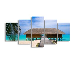 Wholesale Tree Picture Frames - 5 pieces high-definition print island Palm trees canvas painting poster and wall art living room picture HaiD-010