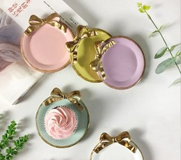 Wholesale Table Dishes - 11*10CM Lovely Golden Bowknot Resin Tray Table Decoration Dish Cake Plate Dessert Coffee Cup Holder Party Wedding Ornament wen5481