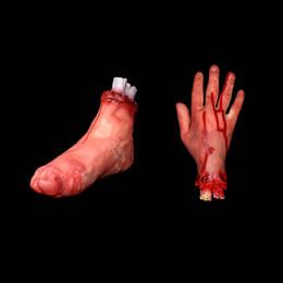 lanterne della stella della carta all'ingrosso Sconti Simulazione spaventoso halloween puntelli decorazione dita rotte e strano piede rotto sangue mano sangue gamba gamba integrità DHL veloce shippin libero