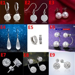 Wholesale double heart silver earrings - 9 style 925 Sterling Silver plated Stud earrings Women's Natural crystal crown Double pearl Earring for Women Girls Gift