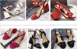 Wholesale black toe sandals - Designer 2018 New Luxury high Heels Leather suede mid-heel Brand sandal Women woman summer sandals Size 35-40 Girls summer shoes