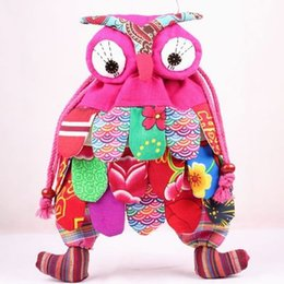 Wholesale Patchwork Owl Backpack - Real Shooting New Fashion With Ethnic Characteristics Of The Style Of a Color Mosaic Cloth Owl Backpack Cartoon Fashion School Bag Decorati