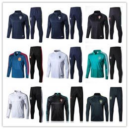 Wholesale pants skinny men - 2018 world cup france germany spain Argentina soccer tracksuit chandal Survetement Portugal Colombia football training suit skinny pants