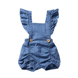 Wholesale jeans jumpsuit baby girl - Little kids jeans romper INS baby falbala fly sleeve denim romper fashion children shorts jumpsuits fashion 2018 girls kids clothing Y6101