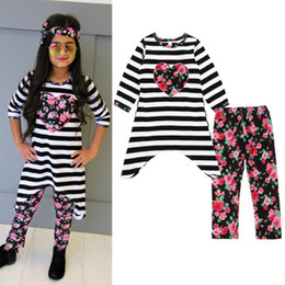 Wholesale heart flower girl dresses - 2018 Newest Kids clothing Girls Clothing Set Spring Autumn Fashion Striped Heart Dress+Flower Pants 2pcs Kids Baby Girl Clothes Outfits Sets