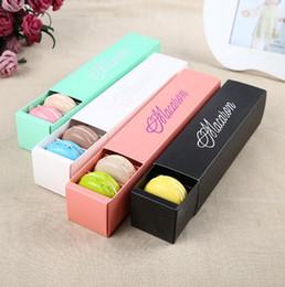 2019 papierverpackung keksbox Macaron Box Kuchen-Kästen Hausgemachte Macaron-Schokoladen-Kästen Keks-Muffin-Kasten-Kleinpapier-Verpackung 20.3 * 5.3 * 5.3cm Schwarz-Rosa-Grün-Weiß günstig papierverpackung keksbox