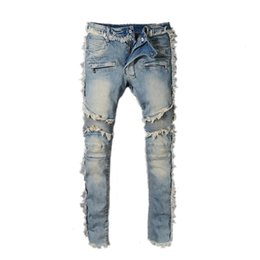Wholesale fly hole - Fashion Men's BALMAIN Rock Renaissance Jeans Europe and the United States street style boys hole embroidered jeans pants men jeans