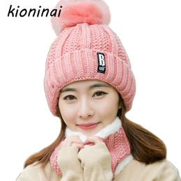 Wholesale Acrylic Balaclava - Kioninai 2-Pcs Winter Hat Beanie Scarf Neck Warmer Balaclava Cap Skullies Beanie Hat Women Fur Pom Pom Hats Knitted Caps Female