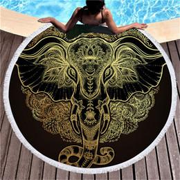 toalla diadema arco Rebajas Elefante bohemio borla tapiz de lujo negro 150 cm redondo toalla de playa grande para adultos microfibra toalla absorbente mantas esteras
