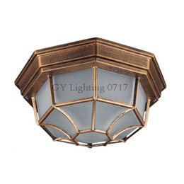 Rústico Cristal Esmerilado pantalla patio exterior iluminación jardín balcón lámpara montada en el techo Estilo de Europa accesorio para lámpara a prueba de agua desde fabricantes