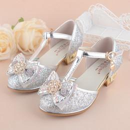 Zapatos de boda tamaño 37 online-Zapatos de princesa para niñas 2018 Nueva primavera verano Bowknot Niños Sandalias de boda para niños Fiesta Zapato de tacón alto talla 27 ~ 37