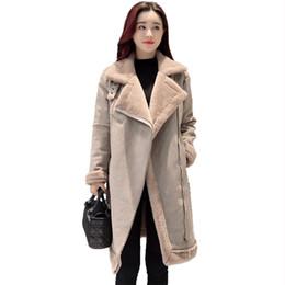 Wholesale Lambs Wool Fur Coat - Winter Women Wool Cotton Fur Jacket Female Turn Down Collar Plus Size Super Warm Thicken Coat Long Lamb Outwear Jackets QH1073