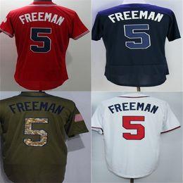 Wholesale Womens Ripped Shirts - mens womens kids Atlanta Jerseys 5 Freddie Freeman RED BLUE,WHITE,GREEN Baseball Jersey sportswear  shirt top quality cheap stitched