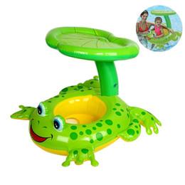 schwimmbad spielzeug boote Rabatt 119x79CM / 47x31inch Baby-aufblasbares Pool-Floss mit Überdachungs-Frosch-Sitz-Boots-Kind-Schwimmen-Ring-Schwimmen-Strand-Spielzeug-Frosch