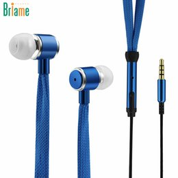 Wholesale Shoelace Earphones - Shoelaces Earphone Stereo Sound Metal Bass Headphones Headset Music Earpieces with Microphone for iPhone Xiaomi Samsung Sport
