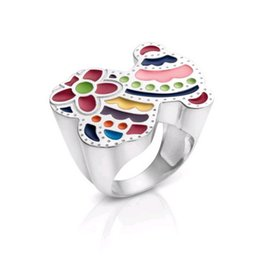 Wholesale flower wedding rings - 2018 Popular style stainless cute Enamel Colors butterfly flower ring for women simple design jewelry oso Anillos de acero inoxidabl