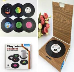 Calor de vinil on-line-6 pçs / set Registro de Vinil Do Vintage Coasters Nostálgico Retro CD Anti-slip Copo Caneca de Café Mat Resistente Ao Calor Tabela Placemat