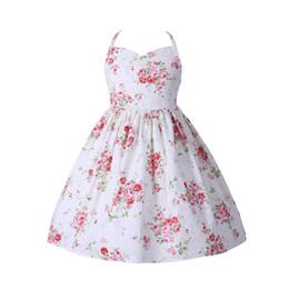 Wholesale Children Design Dresses - Everweekend Kids Girls Sweet Floral Ruffles Summer Cotton Party Dress Halter Design Cute Children Fashion Dresses