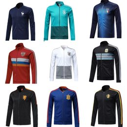 Wholesale Sport Football Kits - world cup Spain Soccer jacket TRAINING SUIT1819 Belgium Argentina football jacket kit France Netherlands Russia sports wear