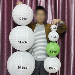 """Chinês branco lâmpadas brancas on-line-10 Peças 6 """"8"""" 10 """"12"""" 14 """"16"""" Branco Rosa Roxo Luz Azul Chinês Lanternas De Papel Rodada De Papel Bola Lâmpadas Wed"""