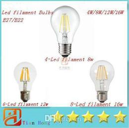 Super luminoso E27 ha condotto le lampadine del filamento accendono l'angolo 360 A60 ha condotto le lampade Edison 4W / 8W / 12W / 16W 110-240V garanzia 3 anni supplier led filament bulbs da lampadine a filamento fornitori
