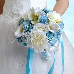 white blue rose wedding bouquet Coupons - New Princess Country Bridal Holding Brooch Bouquets Blue White Rose Silk Artificial Forest Wedding Decoration Bridesmaids Flowers CPA1544
