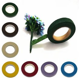 Wholesale Wholesale Brown Tape - 1pc DIY Paper Craft Artificial Flower Wrapping Tapes 30 Yard 12mm Self-adhesive Paper Tape Flower Stem Garland Wreaths Supplies