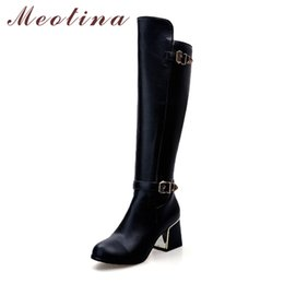 Wholesale Leather Ladies Riding Boots - Meotina Women Riding Boots Thick Heels Knee High Boots 2017 Buckle Autumn Female Long Boots Large Size 34-43 Winter Ladies Shoes
