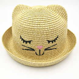 Wholesale Wholesale Face Hat Kids - 2018 New Cat Ears Straw Bucket Hat for Child Kids Emboridery Cute Cat Face Caps Summer Soild Beach Girl Baby Sun Hat